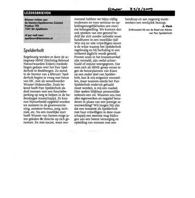 Ingezonden brief 25-2-2009